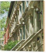 Row Houses In White Wood Print