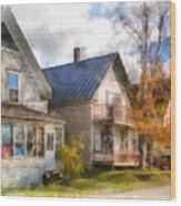 Row Of Houses Hardwick Vermont Watercolor Wood Print