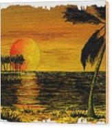 Row Of Palm Trees Wood Print