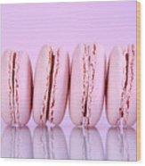 Row Of Pink Macaron Cookies Wood Print