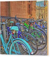 Row Of Student Bikes At Princeton University Nj Wood Print