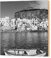 Rowboat Along An Idyllic Sicilian Village. Wood Print