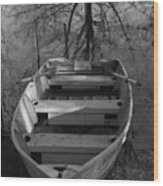 Rowboat And Tree Wood Print