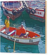 Rowboat In The Harbor At Port Of Valpaparaiso-chile Wood Print