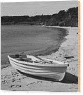 Rowboat On The Beach Wood Print