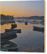 Rowboats At Rest Wood Print