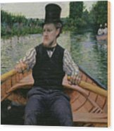 Rower In A Top Hat Wood Print