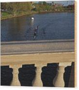 Rowinfg Towards The Weeks Bridge Charles River Harvard Square Cambridge Ma Wood Print