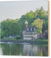Rowing Along The Schuylkill River In Philadelphia Wood Print