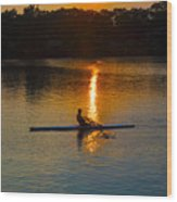 Rowing At Sunset 2 Wood Print