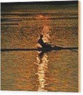 Rowing At Sunset 3 Wood Print