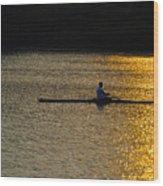 Rowing At Sunset Wood Print