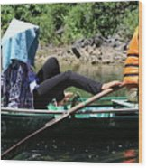 Rowing Boat With Legs, Tam Coc  Wood Print