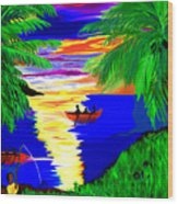 Rowing On The Sunset Wood Print