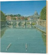 Rowing On The Tiber Rome Wood Print