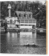 Rowing Past Turtle Rock Light House In Black And White Wood Print