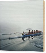 Rowing Team On Lake In Early Morning Fog Wood Print