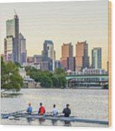 Rowing The Schuylkill - Philadelphia Cityscape Wood Print
