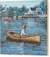 Rowing To Rockport Wood Print