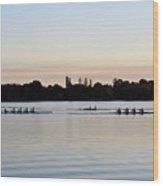 Rowing Under A Pastel Sky Wood Print