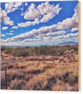 Rows Of Clouds Over Sonoran Desert Wood Print