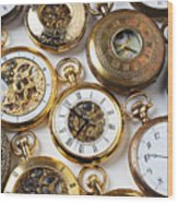 Rows Of Pocket Watches Wood Print