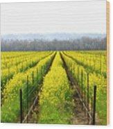Rows Of Wild Mustard Wood Print