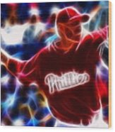 Roy Halladay Magic Baseball Wood Print by Paul Van Scott