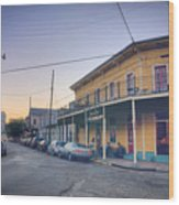 Royal And Touro Streets Sunset In The Marigny Wood Print