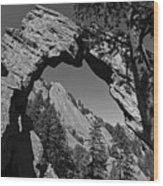Royal Arch Trail Arch Boulder Colorado Black And White Wood Print