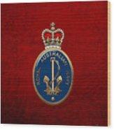 Royal Australian Navy -  R A N  Badge Over Red Velvet Wood Print