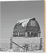 Royal Barn Winter Bnw Wood Print