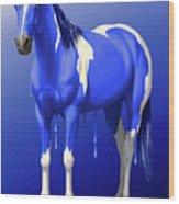 Royal Blue Wet Paint Horse Wood Print