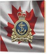 Royal Canadian Navy  -  R C N  Badge Over Canadian Flag Wood Print