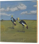 Royal Cranes Wood Print