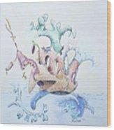 Royal Fireworks Barge Wood Print