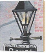 Royal Street Lampost Wood Print