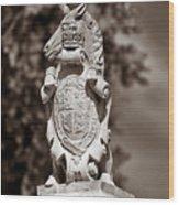Royal Unicorn - Sepia Wood Print