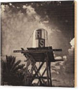 Rs Water Tower Sepia Wood Print