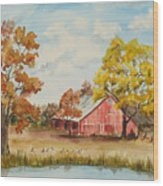 Rt 66 Barn In Bristow Oklahoma Wood Print