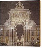 Rua Agusta Arch Lisbon Textured Wood Print
