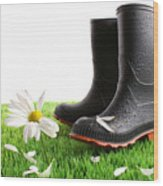 Rubber Boots With Daisy In Grass Wood Print