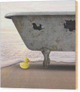 Rubber Ducky Bathtub Beach Surreal Wood Print