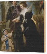 Rubens His Wife Helena Fourment 16141673 And Their Son Frans 16331678 Wood Print