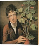 Rubens Peale With A Geranium Wood Print by Rembrandt Peale