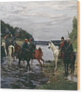 Rubicon. Crossing The River By Denis Davydov Squadron. 1812. Wood Print