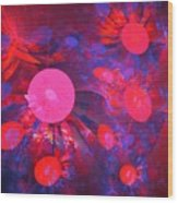 Ruby Blue Rays Wood Print