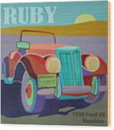 Ruby Ford Roadster Wood Print