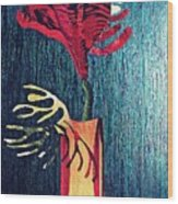 Ruby Red Flower Wood Print