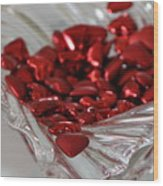 Ruby Red Hearts And Crystal Wood Print